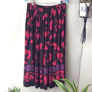 Vintage Jones NY Black Fuchsia Purple Midi Skirt